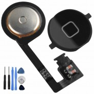 Home Button with Flex Assembly Part Black For iPhone 4S + Tools