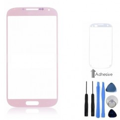 Front Outer Pink GlassCover + Tools Adhesive For Samsung Galaxy S4 i9500