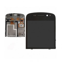 Black Complete LCD Screen + Touchscreen Digitizer Lens Cover for Blackberry Q10