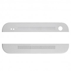Silver Front Top & Bottom Cover Cap Housing for HTC One M7