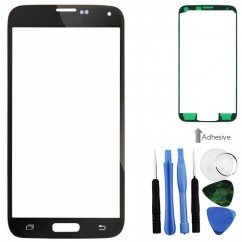 Black Front Screen Glass Lens Repair + Tools Adhesive Fr Samsung Galaxy S5 i9600
