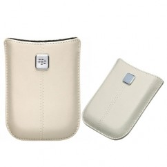 Leather Shell Case Pouch HDW-18972-004 White For Blackberry 9700 9780 Bold 2
